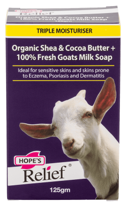 Hope's Relief Dry Skin Natural Organic Shea & Cocoa Butter & 100% Fresh Goats Milk Soap (ideal for Eczema or Itchy Skin)